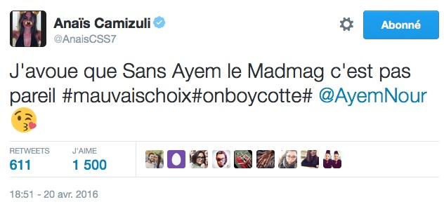 anais-camizuli-soutien-ayem-mad-mag-boycott