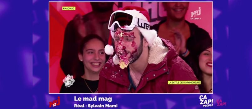 Aymeric Bonnery se fait entarter en direct! ZAPPING PEOPLE DU 13/12/2016